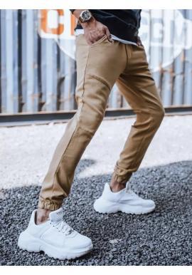 Hnedé módne joggery s gumou v páse pre pánov