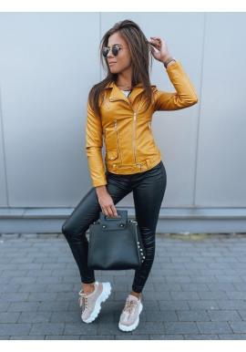 Koženková dámska bunda žltej farby s prešívaním