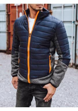 Tmavomodrá prechodná bunda s prešívaním pre pánov
