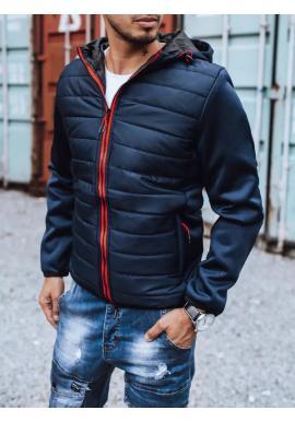 Pánska prešívaná bunda na jeseň v tmavomodrej farbe
