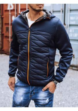 Tmavomodrá jesenná bunda s kapucňou pre pánov