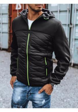 Jesenná pánska bunda čiernej farby s kapucňou