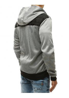 Prešívaná pánska bunda svetlosivej farby s kapucňou