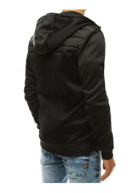 Pánske prešívané bundy s kapucňou v čiernej farbe