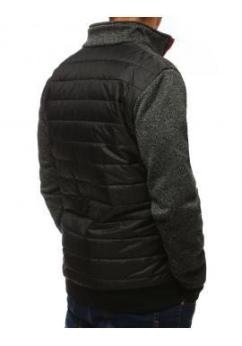 Pánska prešívaná bunda s golierom v čiernej farbe