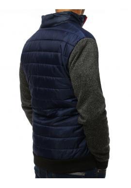Prechodná pánska bunda tmavomodrej farby s golierom
