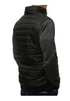 Pánska prechodná bunda s golierom v čiernej farbe