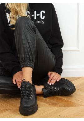 Čierne štýlové tenisky s vysokou podrážkou pre dámy