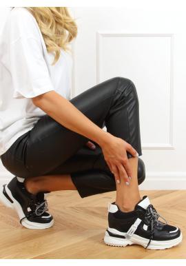Čierne módne tenisky na klinovom podpätku pre dámy