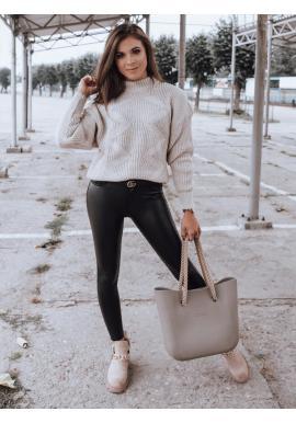 Voskované dámske nohavice čiernej farby s vysokým pásom