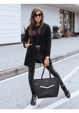 Dámsky klasický kabát s golierom v čiernej farbe