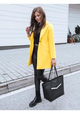 Klasické dámske kabáty žltej farby s golierom
