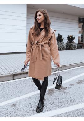 Dámsky prechodný kabát s opaskom v hnedej farbe