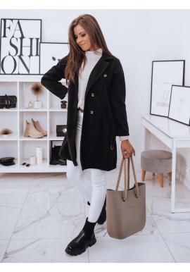 Čierny dvojradový kabát s opaskom pre dámy