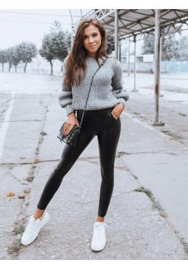 Dámske úzke nohavice s vyšším pásom v čiernej farbe