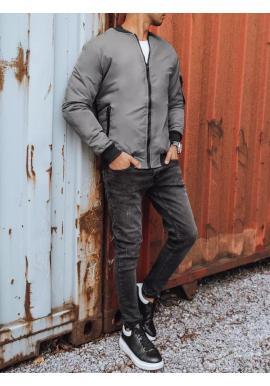 Pánska bomber bunda na jeseň v tmavosivej farbe