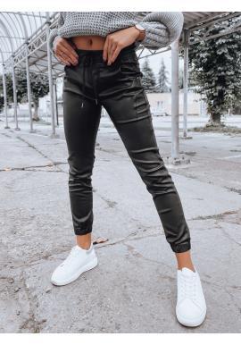 Dámske voskované nohavice s gumou v páse v čiernej farbe