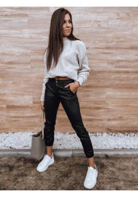 Čierne voskované nohavice pre dámy