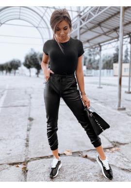 Voskované dámske nohavice čiernej farby s gumou v páse