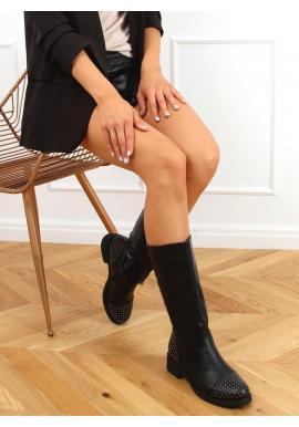 Dámske módne čižmy s vybíjaním v čiernej farbe