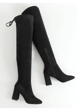 Čierne čižmy nad kolená na stabilnom podpätku pre dámy