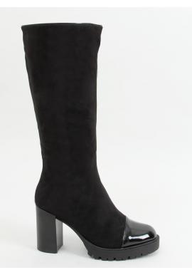 Čierne štýlové čižmy na širokom podpätku pre dámy