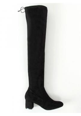 Semišové dámske čižmy nad kolená čiernej farby na nízkom opätku