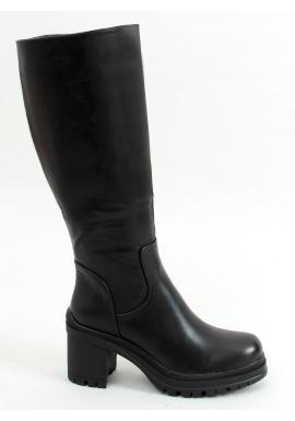 Dámske vysoké čižmy na širokom podpätku v čiernej farbe