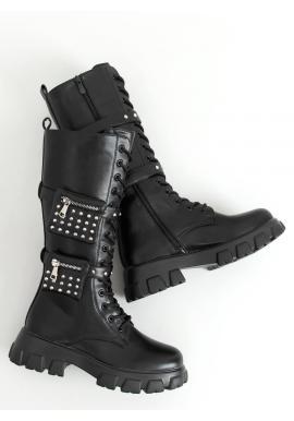 Čierne štýlové čižmy s kapsičkami pre dámy
