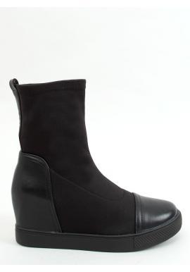 Dámske ponožkové čižmy na skrytom podpätku v čiernej farbe