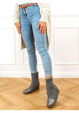 Sivé ponožkové čižmy na skrytom podpätku pre dámy