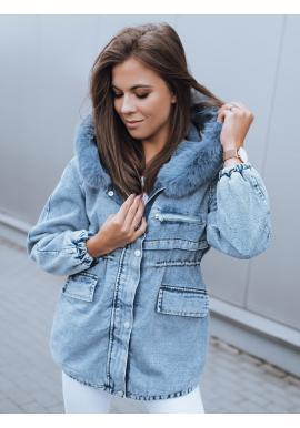 Svetlomodrá oteplená rifľová bunda s kapucňou pre dámy