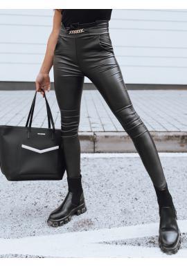 Čierne voskované nohavice s ozdobnou retiazkou pre dámy