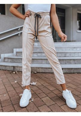 Módne dámske nohavice svetlobéžovej farby s gumou v páse