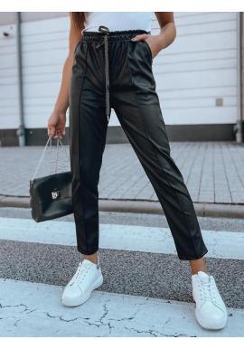 Dámske módne nohavice s gumou v páse v čiernej farbe
