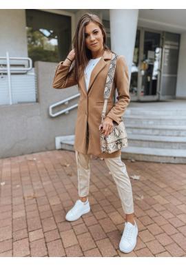Hnedý klasický kabát s golierom pre dámy