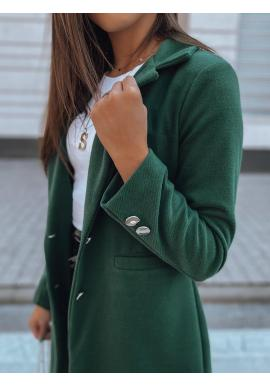 Dámske klasické kabáty s golierom v zelenej farbe