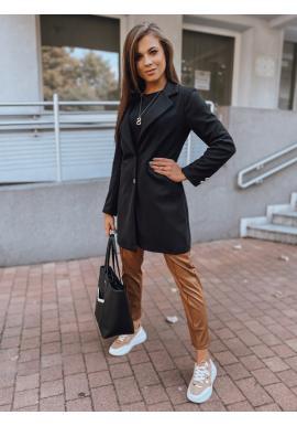 Klasický dámsky kabát čiernej farby s golierom
