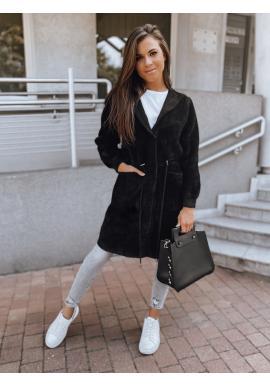 Čierny teplý kabát s kapucňou pre dámy