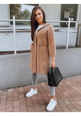 Dámsky teplý kabát s kapucňou v hnedej farbe