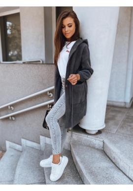 Teplý dámsky kabát sivej farby s kapucňou