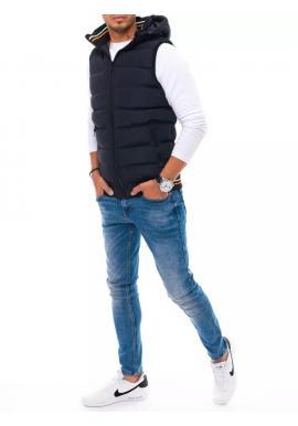 Pánska prešívaná vesta s kapucňou v tmavomodrej farbe