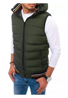 Pánska prešívaná vesta s kapucňou v zelenej farbe