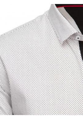 Biela bodkovaná košeľa s dlhým rukávom pre pánov