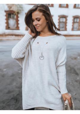 Dámsky dlhý oversize sveter s ozdobou v svetlobéžovej farbe