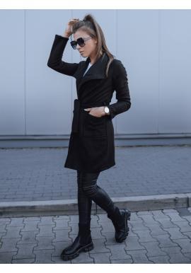 Štýlový dámsky kabát čiernej farby s viazaním v páse