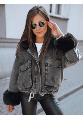 Dámska oteplená rifľová bunda s kožušinou v tmavosivej farbe