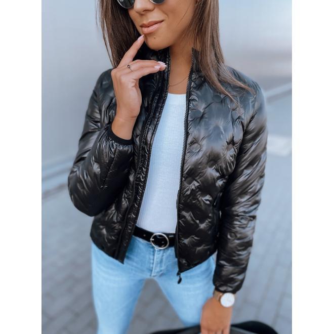Čierna prešívaná bunda s jemným leskom pre dámy