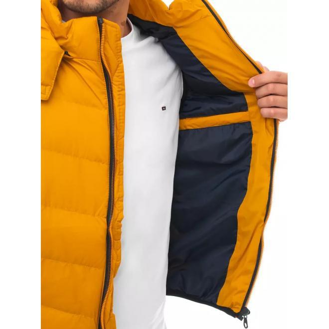 Pánske prešívané vesty s odopínacou kapucňou v žltej farbe