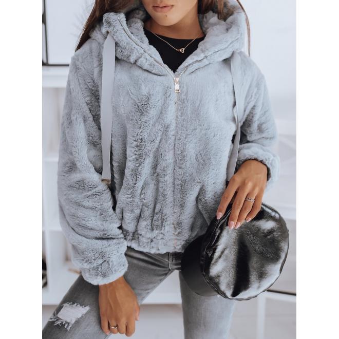 Dámska oversize bunda s kapucňou v svetlosivej farbe